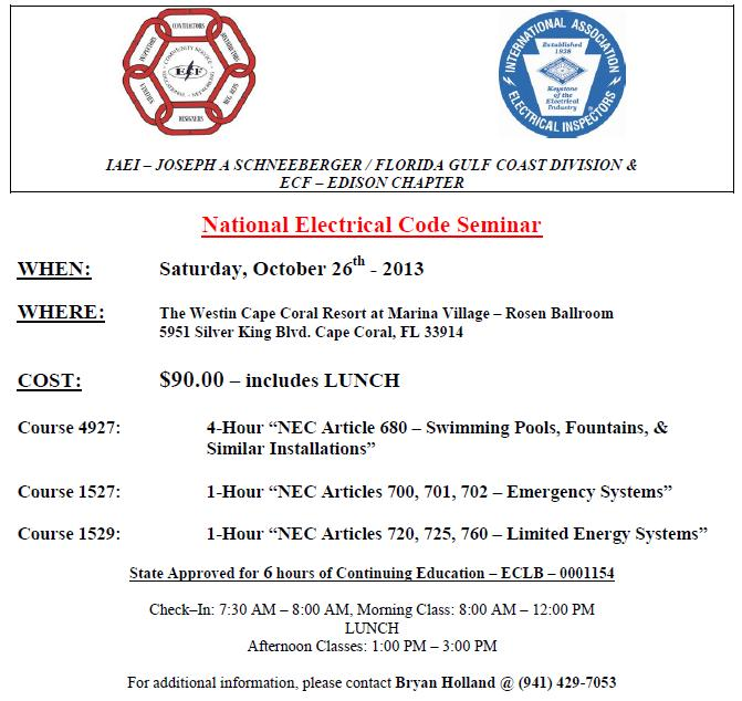 Electrical Council of Florida - ECF Edison Chapter & IAEI National ...