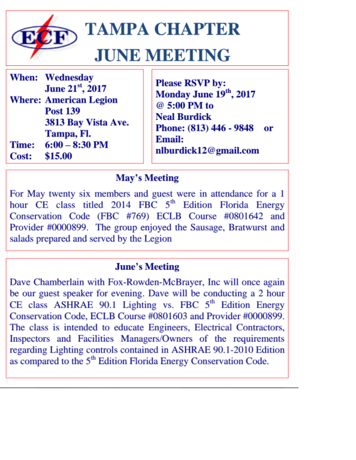 Electrical Council of Florida - TAMPA CHAPTER JUNE MEETING