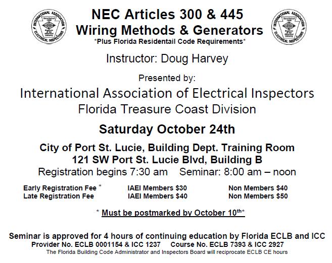 Electrical Council of Florida - IAEI Seminar: NEC Articles 300 & 445 ...